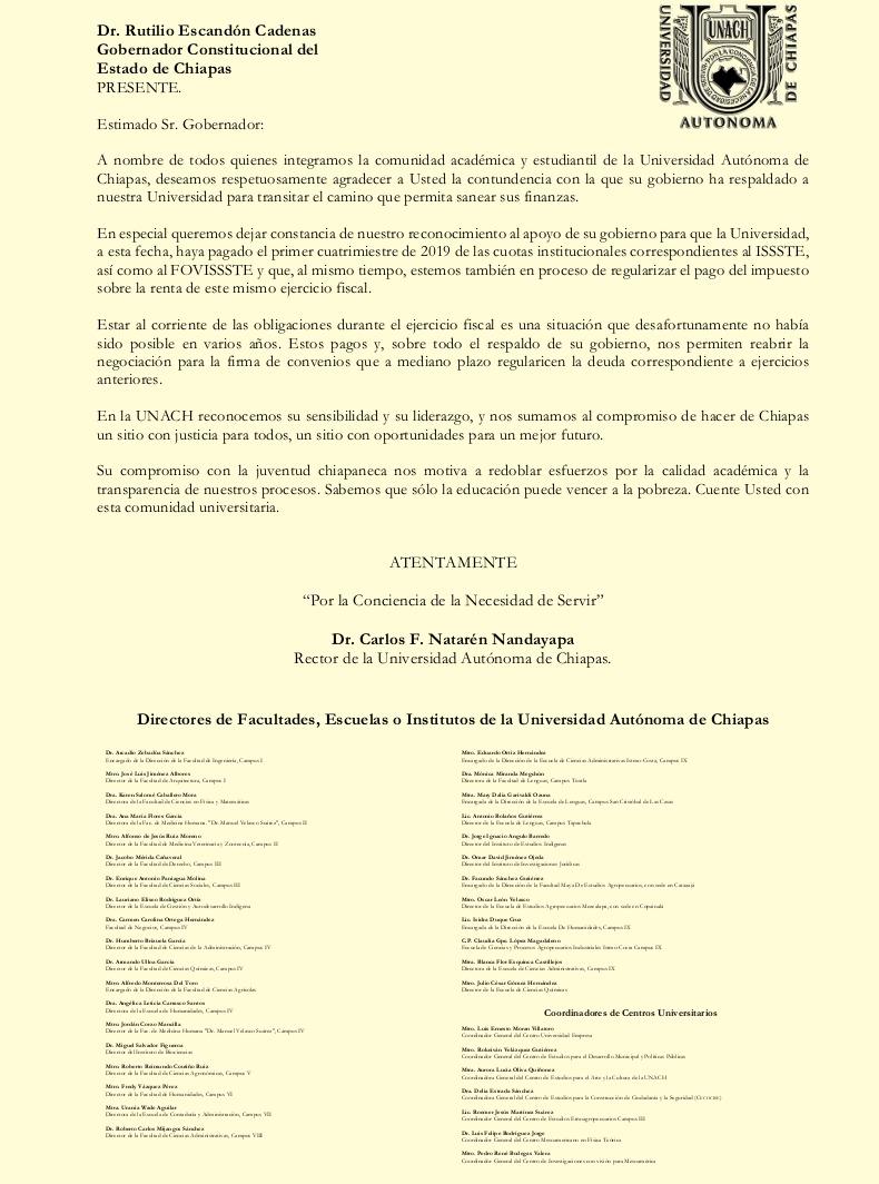 Agradecimiento al Dr. Rutilio Escandon Cadenas